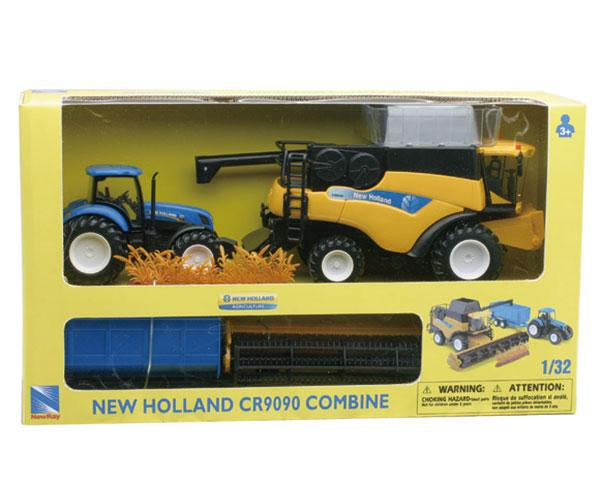 Pack miniatura tractor NEW HOLLAND T700 con remolque y cosechadora NEW HOLLAND CR9090 New Ray 05763 - Ítem1