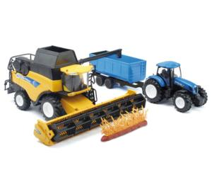 Pack miniatura tractor NEW HOLLAND T700 con remolque y cosechadora NEW HOLLAND CR9090 New Ray 05763