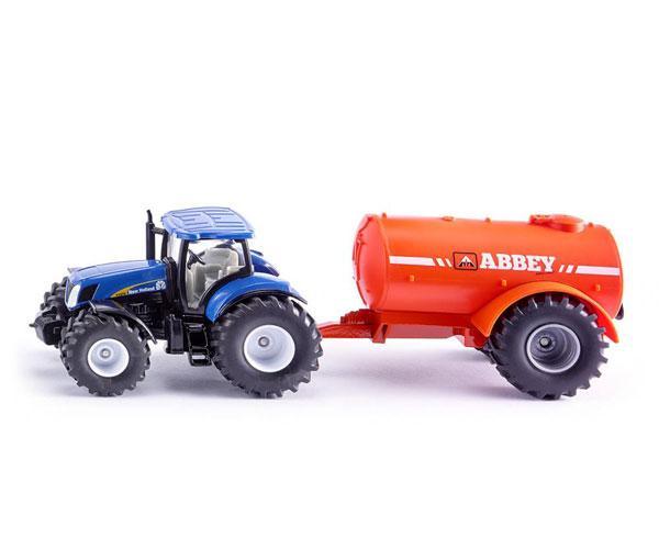 Miniatura tractor NEW HOLLAND con remolque cisterna ABBEY Siku 1945