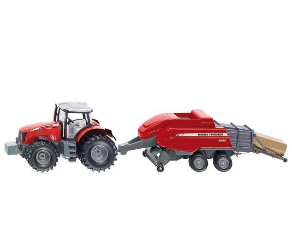 Miniatura tractor MASSEY FERGUSON 8690 Dyna-VT con empacadora MASSEY FERGUSON 2160