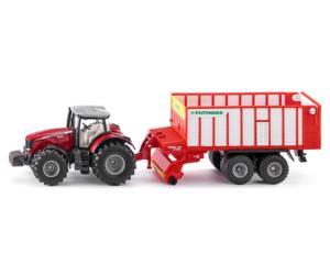 Miniatura tractor MASSEY FERGUSON con remolque POTTINGER Siku 1987