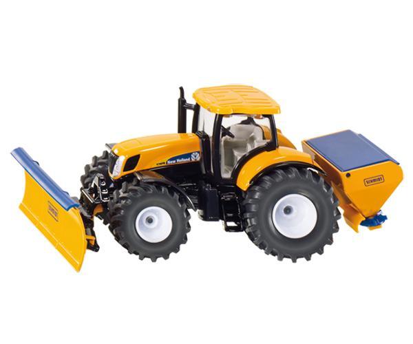 Miniatura tractor NEW HOLLAND con hoja niveladora y esparcidor de sal