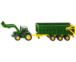 Miniatura tractor JOHN DEERE con cargadora frontal y remolque