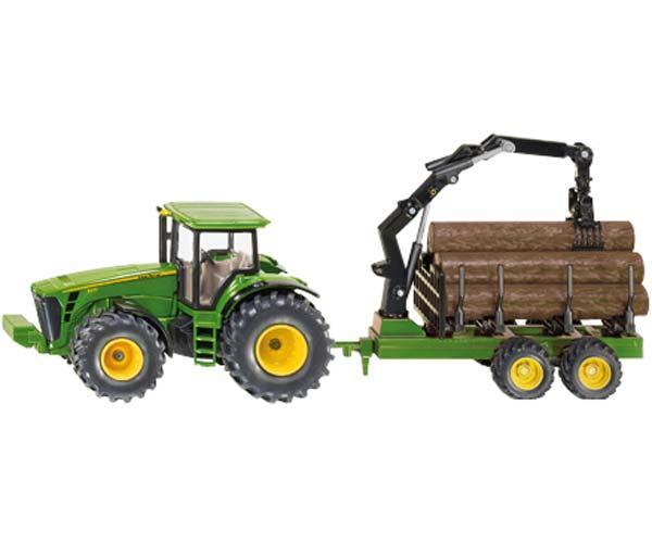 Miniatura tractor JOHN DEERE 8430 con remolque forestal
