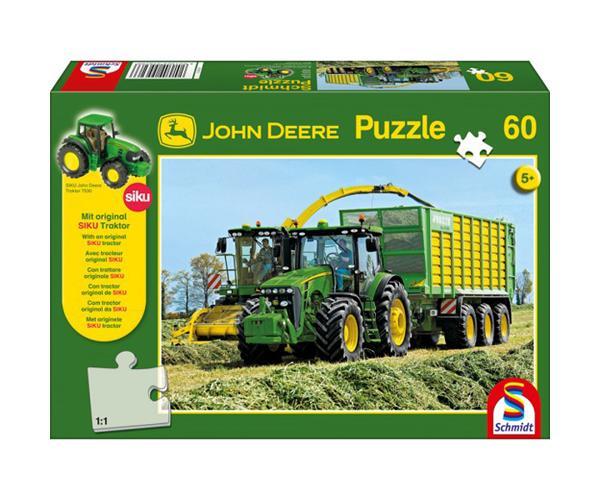 SCHMIDT Puzzle tractor JOHN DEERE 8345R con remolque y picadora de 60 piezas