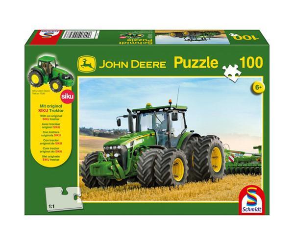 SCHMIDT Puzzle tractor JOHN DEERE 8270R con ruedas gemelas de 100 piezas
