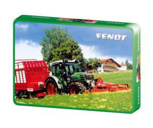 SCHMIDT Puzzle tractor FENDT 211 Vario con remolque y segadora FELLA de 60 piezas