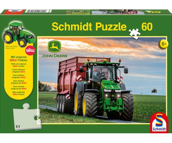 Puzzle tractor JOHN DEERE con remolque KRAMPE de 60 piezas Schmidt 56043