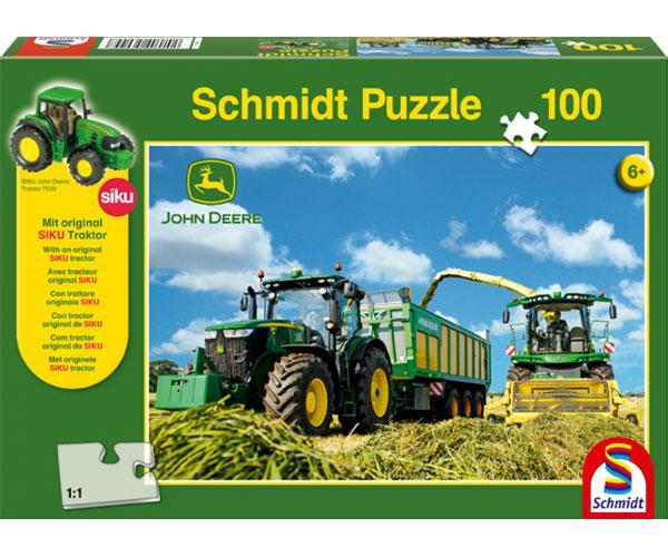 Puzzle tractor JOHN DEERE con remolque JOSKIN y picadora JOHN DEERE Schmidt 56044