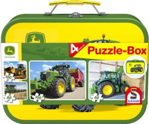 Caja metálica con 4 puzzles JOHN DEERE Schmidt 56497