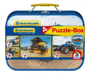 SCHMIDT Caja metálica con 4 puzzles NEW HOLLAND