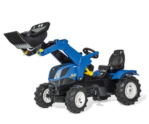 ROLLY TOYS Tractor de pedales NEW HOLLAND con pala y neumáticos de goma