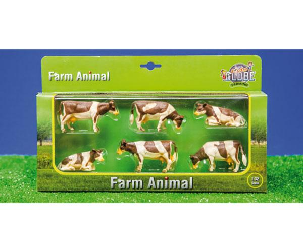 Pack de 6 vacas kids globe farming 57010