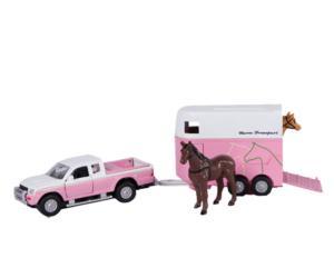 KIDS GLOBE FARMING 1:32 Furgoneta pick-up MITSUBISHI con remolque transporte caballos con 1 caballo