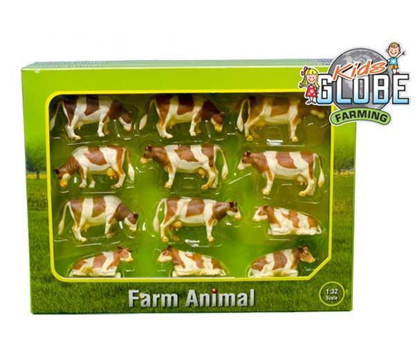 KIDS GLOBE FARMING 1:32 Pack de 12 vacas