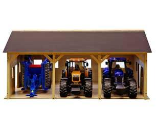 Almacén para 3 tractores de juguete escala 1:16