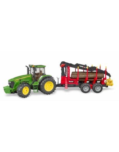 BRUDER 1:16 tractor john deere 7930 con remolque forestal
