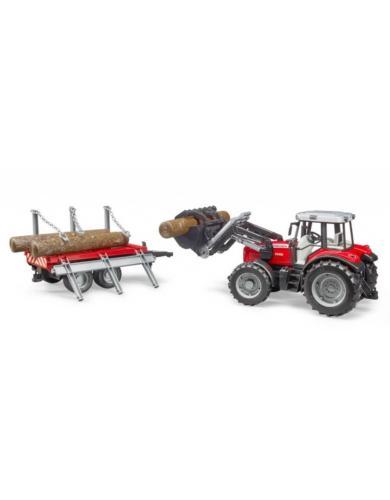 BRUDER 1:16 Tractor de juguete Massey Ferguson 7480 con pala frontal y remolque - Ítem2