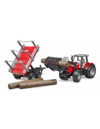 BRUDER 1:16 Tractor de juguete Massey Ferguson 7480 con pala frontal y remolque - Ítem1