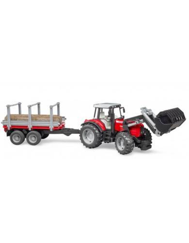 BRUDER 1:16 Tractor de juguete Massey Ferguson 7480 con pala frontal y remolque