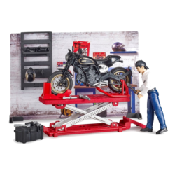 BRUDER 1:16 muñeco y taller mecánico motos y accesorios