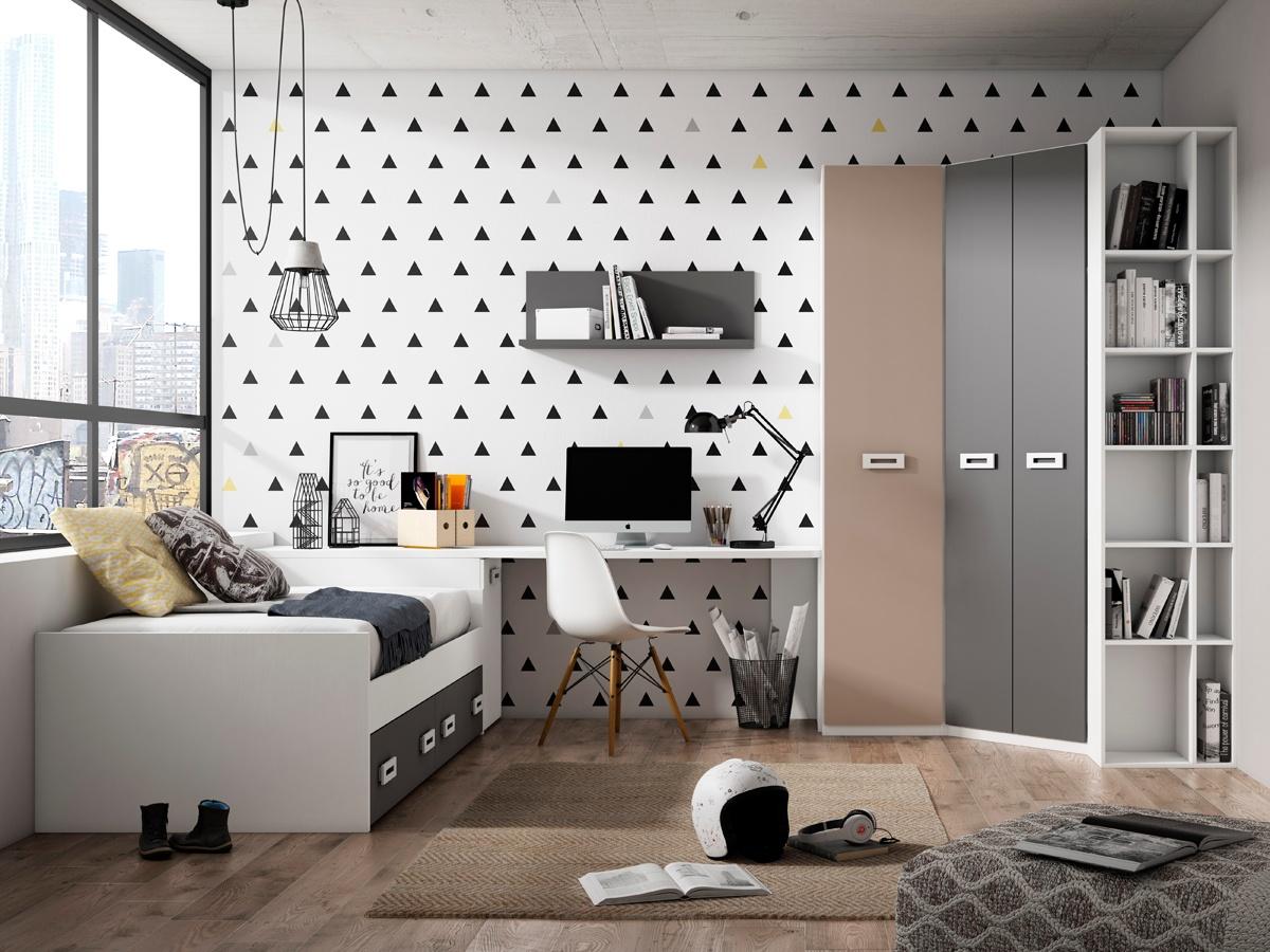 Habitaci n juvenil con cama y arc n de mueble zapatero - Cama nido arcon ...