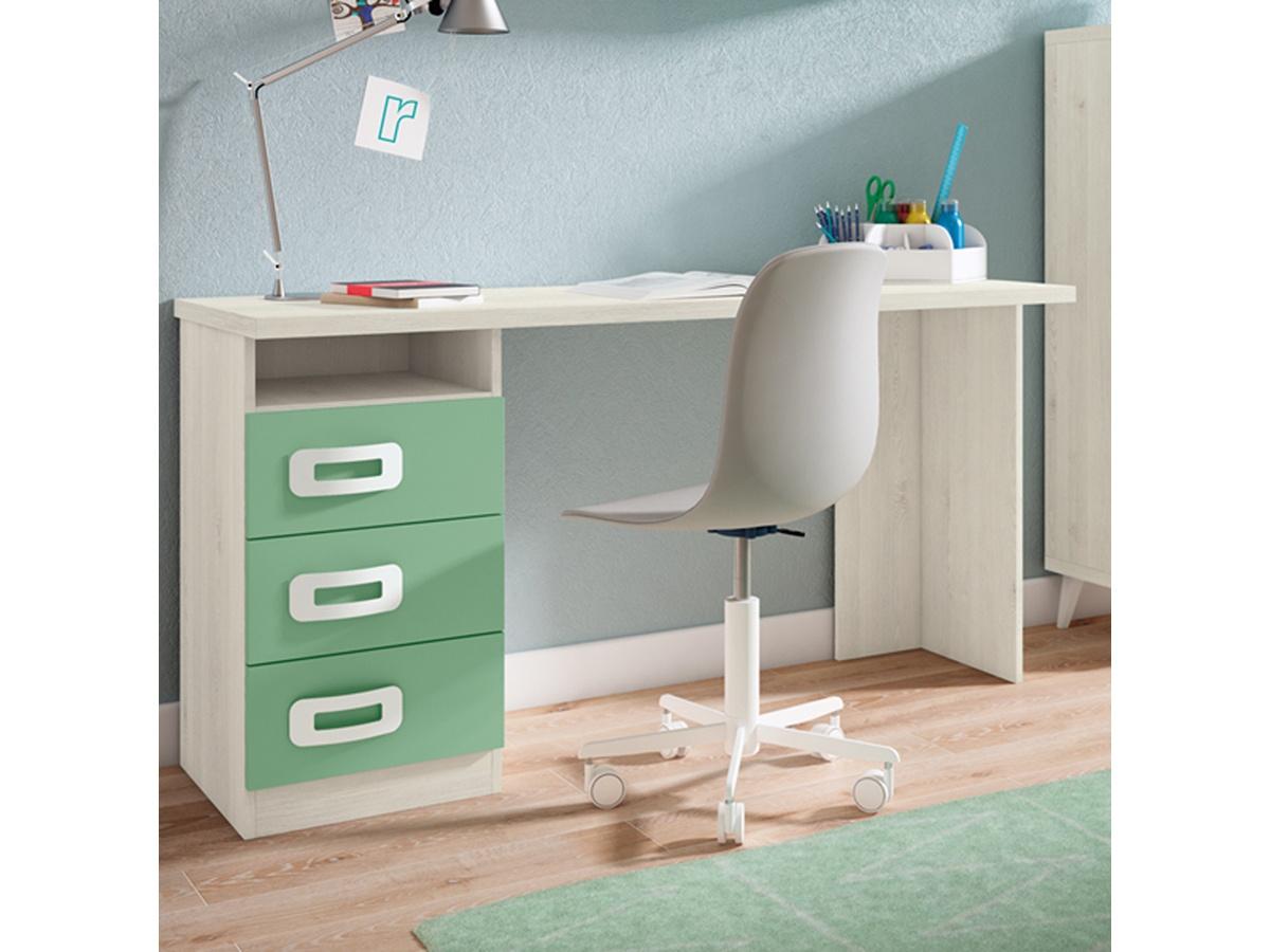 Conjunto mesa de escritorio para j venes 2 cajones y pie - Camas altas con armario debajo ...