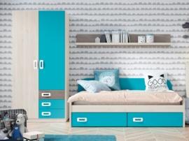 Composición juvenil con cama cajones