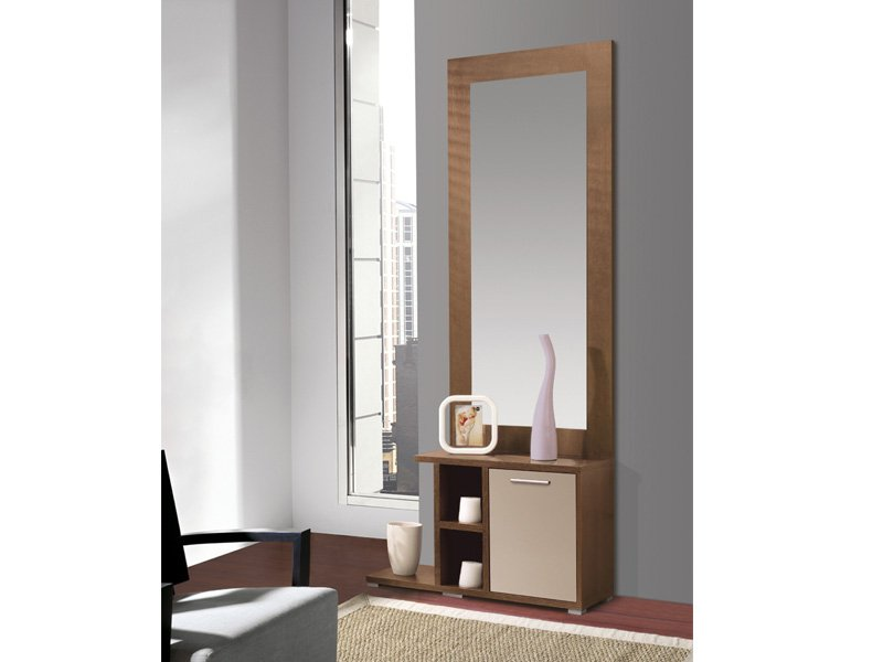 Mueble de entrada moderno color nogal y detalles en vis n for Muebles zapateros para entradas