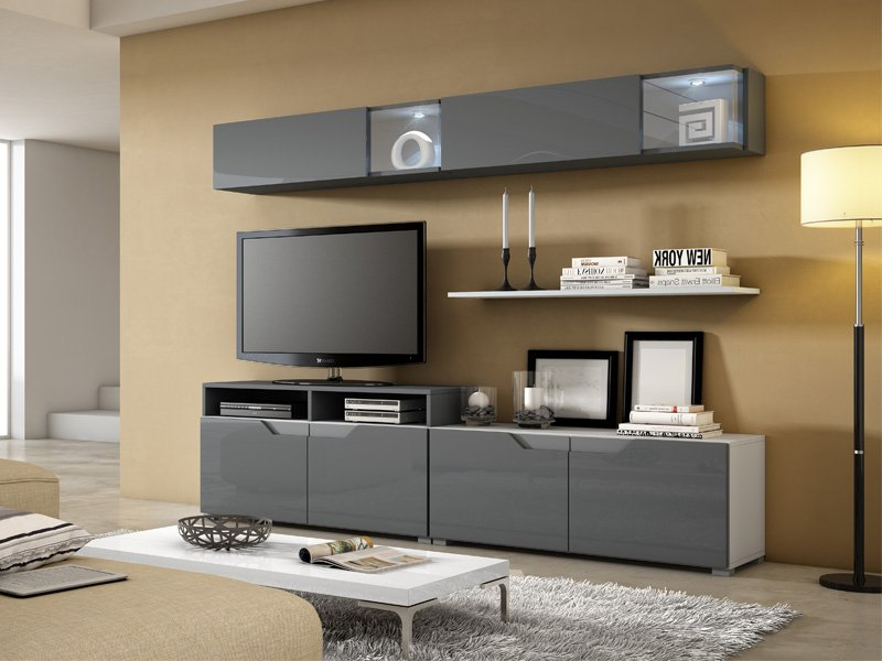 Mueble de sal n grafito con puertas y estantes estilo - Mueble salon minimalista ...