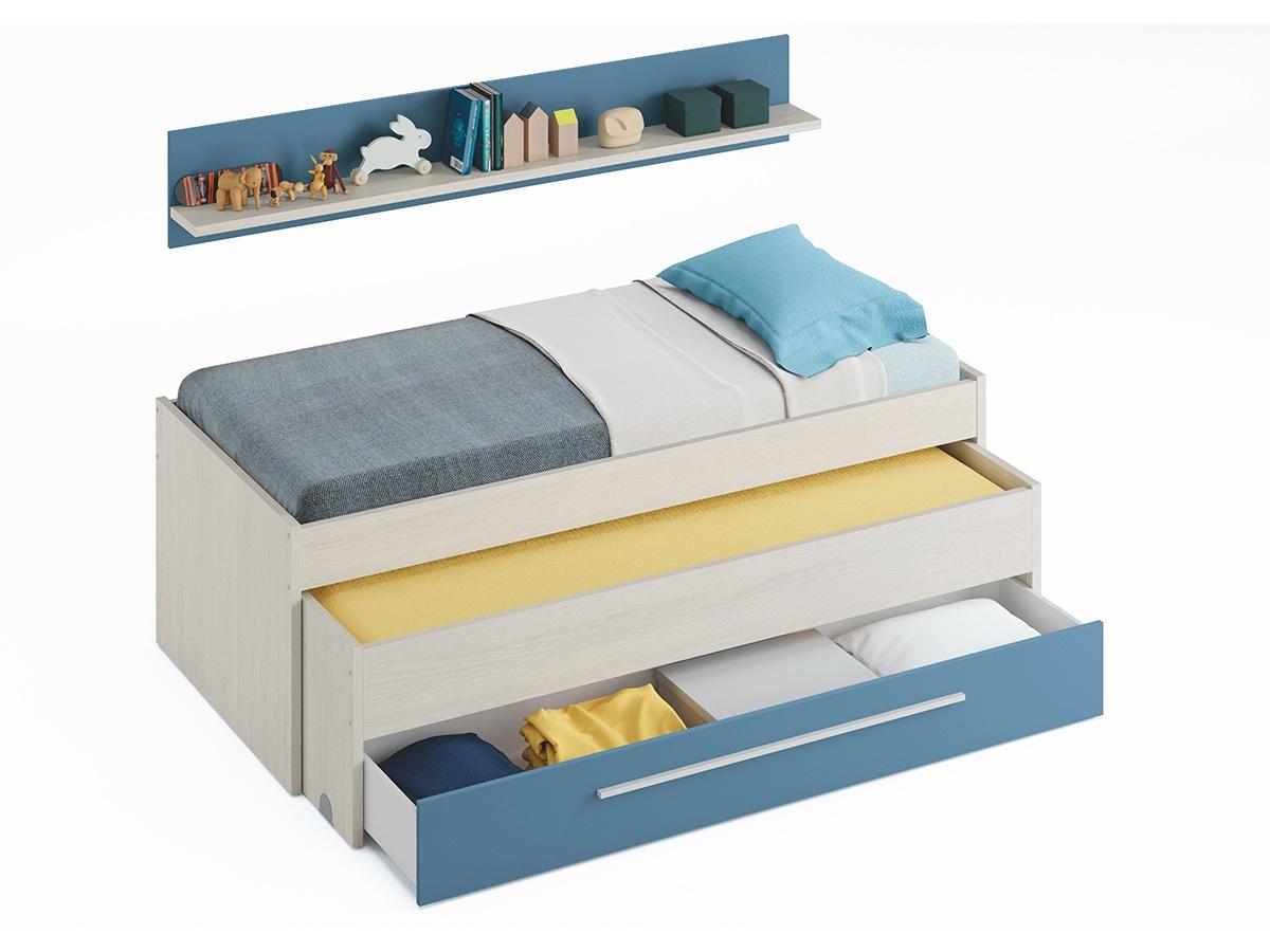 cama doble, cama doble juvenil, cama juvenil, cama con estante, cama infantil, cama nido, conjunto cama nido