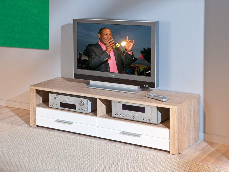 Mueble televisi n sal n apilable soporte para tv en roble for Mueble con soporte para tv