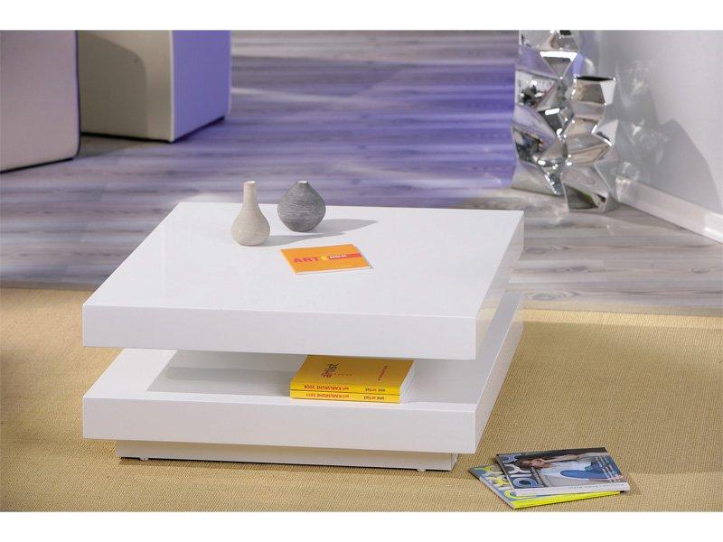 mesa de centro giratoria de formato cuadrado en color blanco