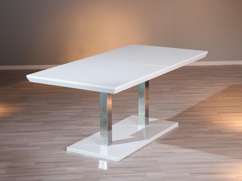 Mesa de comedor extensible blanca, mesita de salón deslizante