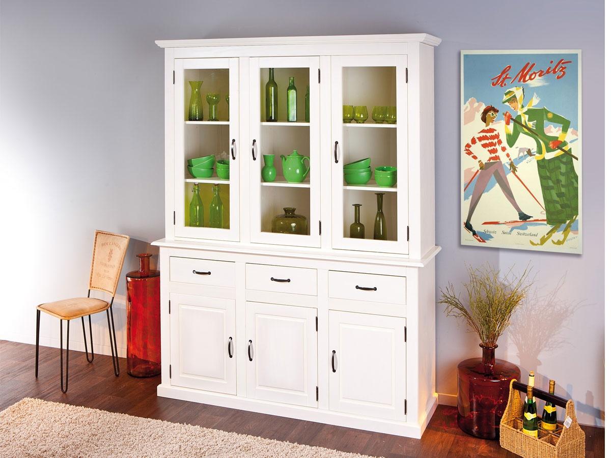 Aparador de comedor blanco con puertas, cajones y estantería