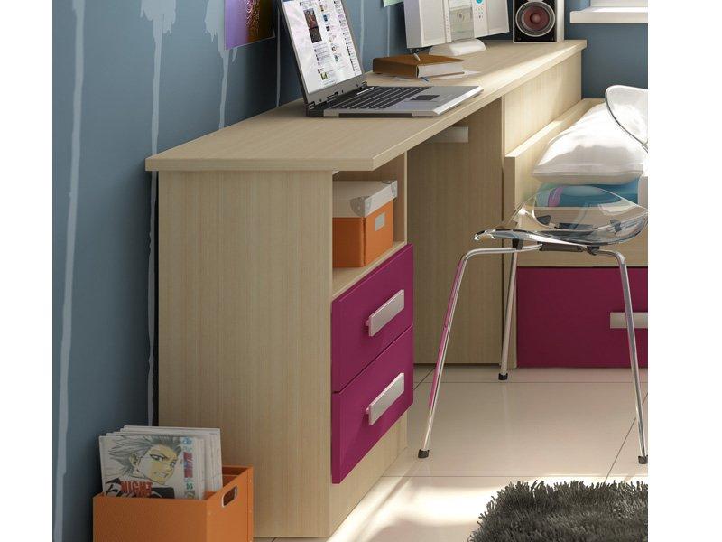 Mesa de estudio con zapatero y arc n juvenil en crudo o roble - Mesa estudio juvenil ...