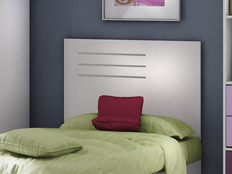 Cabezal juvenil para cama con 3 l neas en roble o crudo for Lamparas cabezal cama