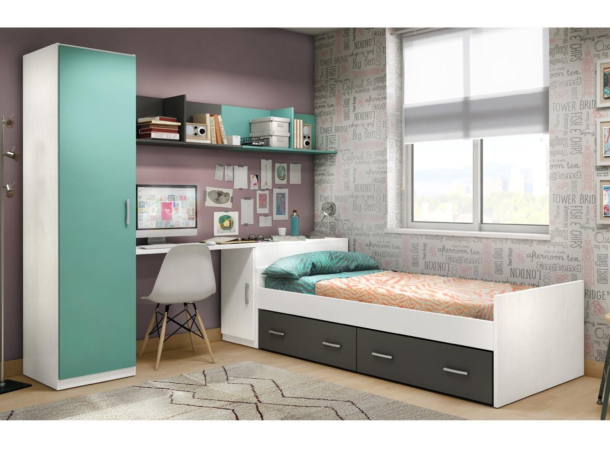 Habitaci n juvenil con cama y arc n de mueble zapatero - Escritorio habitacion ...
