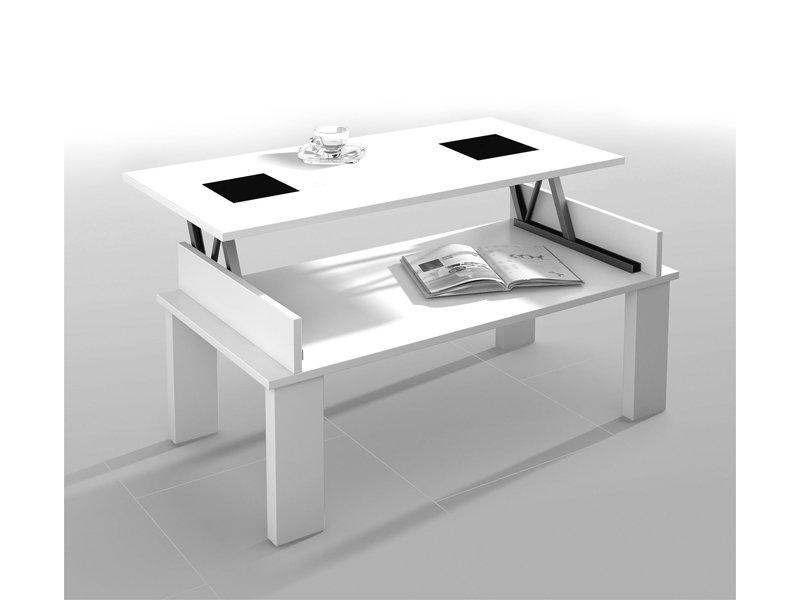 Mesa de centro elevable para salón, en madera nogal 110x47x60