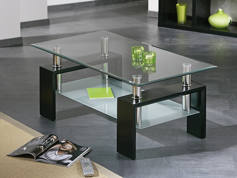 Mesa de centro elevable de cristal con encimera y bandeja revistero - Mesas de estudio de cristal ...