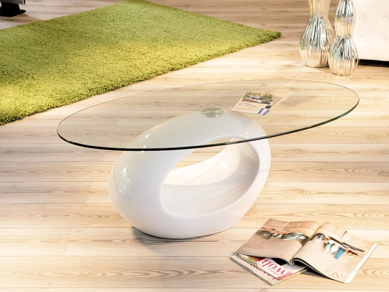 Mesa circular de cristal para centro de estilo minimalista - Mesas cristal salon ...