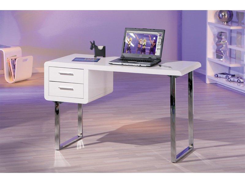Escritorio para ordenador mesita de color blanco con for Mesa de ordenador blanca