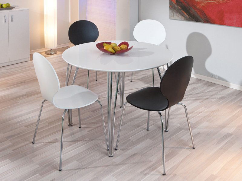 Mesa redonda lacada blanca de cocina y comedor en alto brillo