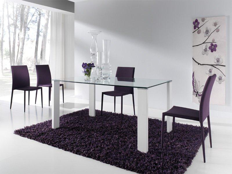 Juego de comedor con mesa de cristal y cuatro sillas de polipiel - Sillas comedor polipiel ...