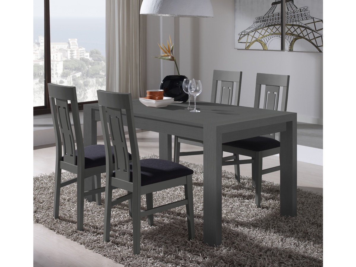 Salón comedor con mesa de madera y cristal con sillas tapizadas