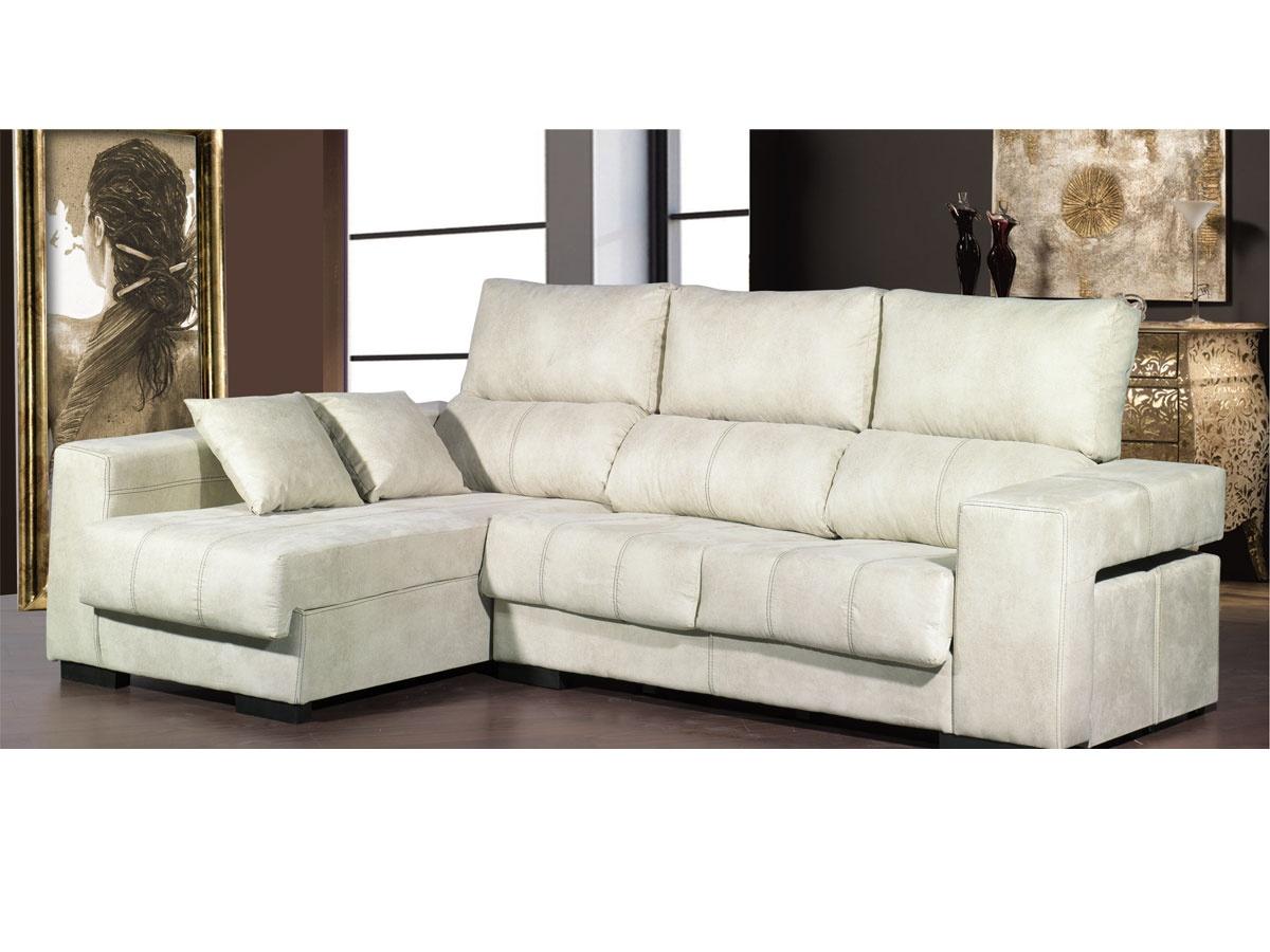 Sofá chaiselongue tapizado con cojines en chenilla para el comedor