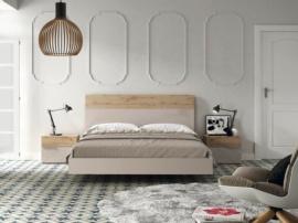 Dormitorio con detalles en roble