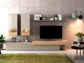 Mueble para salón con detalles en Roble