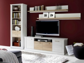 Apilable de salón color roble y blanco