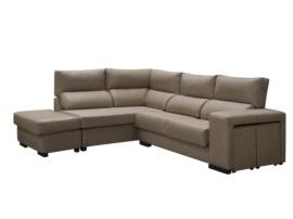 Sofá chaiselongue de asientos reclinables +1 puff movible + 2 puffs en brazo.